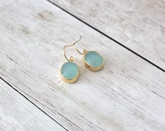 ERIN - Alice Blue Gold Framed Oval Jewel, Gold Filled Earwire, Dangle Earrings