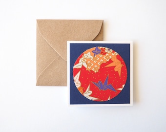 Mini Notecards, 3x3 cards, Handmade cards, Japanese chiyogami paper, Packaging, Blank notecards, Paper cranes, Navy blue - set of 8