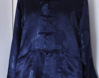 Midnight Blue, Brocade Satin, Dragon Motif, Unlined Chinese Jacket