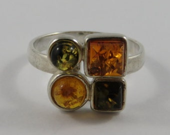 Sterling Silver Green and Orange Amber Ring- SIZE 7