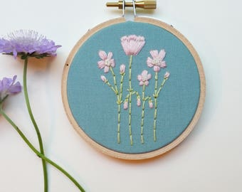 Floral Embroidery. Botanical Art. Hand Embroidered. Pink. 3 inch hoop. Hand Embroidery. Silk. Wool. Embroidery. Flowers. Fiber art.