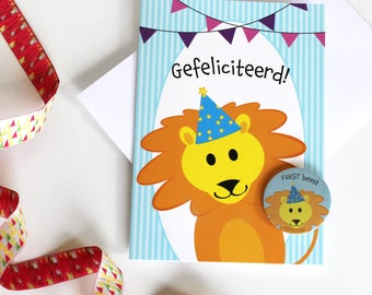 Children's birthday card, Happy Birthday card, colorful playful greeting card, button, card year, communion card, greeting card