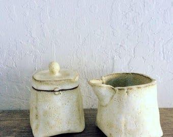 white ceramic cream and sugar set - handmade pottery - 10% proceeds benefit humane society
