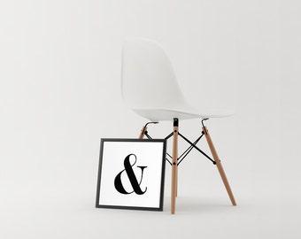 Ampersand | Digital Print | Scandinavian Decor | Minimalist Wall Art | Ampersand Print | Typography | Gallery Wall | 18x18 | Printable Art