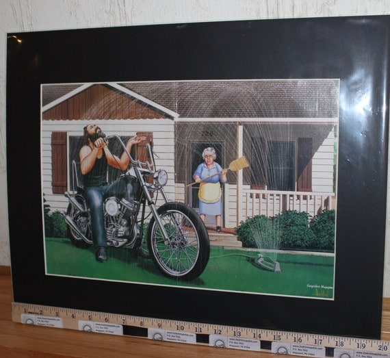 "David Mann ""Lawn Sprinkler"" 16'' x 20'' Matted Motorcycle Biker Art #8407ezrxm"