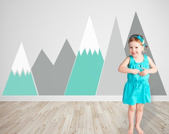 Mountains Wall Decal NURSERY Wall Art Mint headboard For kids Baby Room washable self adhesive sticker Removable pattern Decor #001