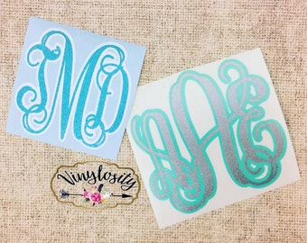 Two Tone Monogram Decal | Vine Monogram Decal | Personalized Decal | Monogram Decal | Monogram Yeti Decal | Car Decal | Vinyl Decal