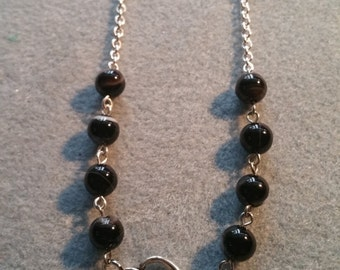 Black stripe agate, double heart connector, double heart pendent, silver heart, silver necklace with large unique clasp