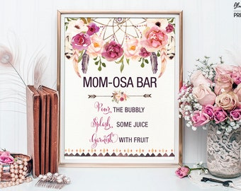 Printable MOMOSA BAR. Bohemian Baby Shower Mimosa Bar Sign. Boho Floral Baby Shower Decoration. Dream Catcher Decor. Rustic Feathers FLO13