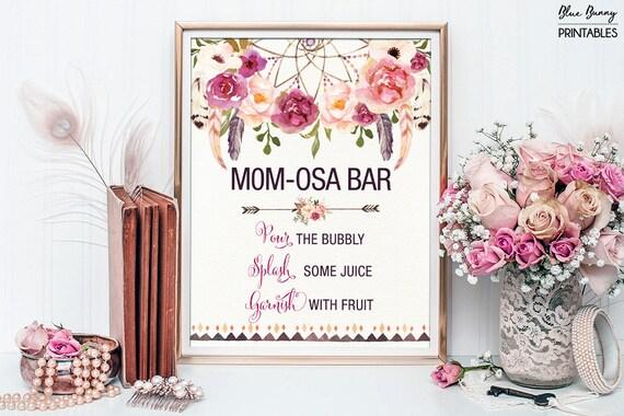 Printable Momosa Bar Bohemian Baby Shower Mimosa Bar Sign