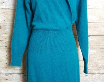 Raoul Teal Lambswool Angora Blend Sweater Dress Size M Vintage