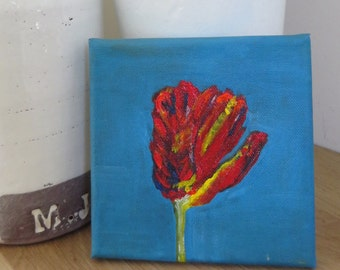 acrylic canvas, 6x6 inches painting, parrot tulip, small gift