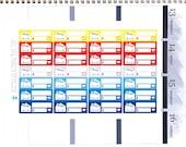 Happy or Sad Bill Due (PATRIOTIC Colors) Reminder Label Cute Kawaii Vertical Erin Condren Planner Stickers Mambi Personal Cute Budget July