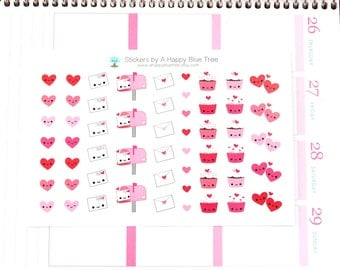 Happy Cupcakes Hearts Valentines Stickers Erin Condren Life Planner ECLP Mambi Personal A5 A6 ...
