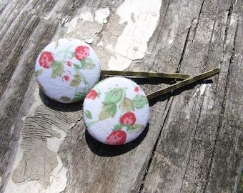 Strawberry hair pins Teen hair pins Button hair pins Straberry barrettes Vintage hair pins Pinup Girl hair accessories Gift for teens