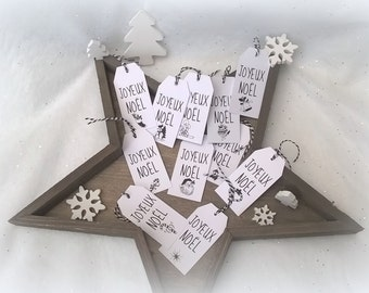 12 labels Christmas black and white Twine bicolor