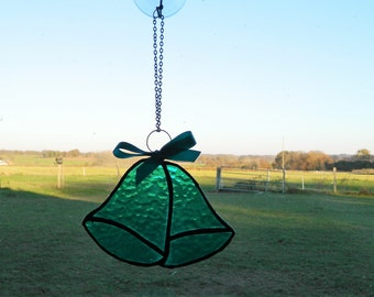 Glass Wedding Bells, stained glass suncatcher, window sun catcher, wall decor art, best selling items, turquoise glass hanging decorations,