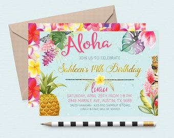 Hawaiian Invitations,  Pineapple Invitation, Luau Birthday Invitation, Luau Invitations, Luau Birthday Invites, Summer Birthday Invitations,