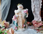 Vintage Christmas Fabric Santa Claus Shabby Chic Pink White Teal Beige Tones Xmas Gift Figurine Père Noël Doll Winter Holidays Ornements