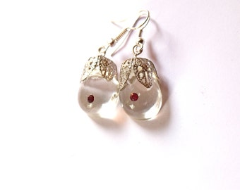 Resin crystal drop jewelry, Boob dangle Swarovski nipple,  feminist gift, Lesbian jewelry, lgbt  bff earrings 925 Silver jewelry nasty woman