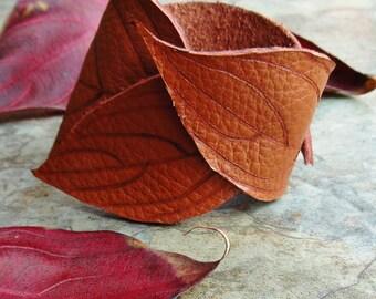 Leather Cuff, Leaf Cuff, Tooled Leather Accessories, Dogwood Leaf