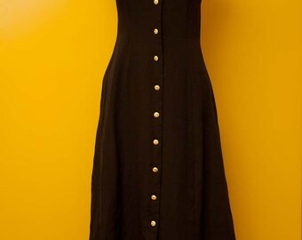 Vintage Floor Length Black Button Front Dress with Gold Buttons and Tie Back Size Small/Medium