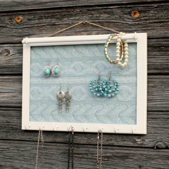 Custom Jewelry Display Frame: Frame Jewelry Holder Blue Jewelry Organizer Handmade Jewelry