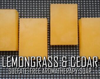 Lemongrass & Cedar Soap   2-pk   Pure Vegan Sulfate-Free Lemongrass/Cedarwood Aromatherapy Essential Oil Soap with Shea Butter