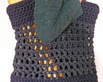 Crochet beach bag, shopper bag, knitted bag, navy bag, holiday bag, buggy bag, tote bag, large bag, eco bag, everyday bag, summer bag
