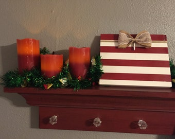 Burlap & Lace Bow Clip Frame - Red and White Stripe