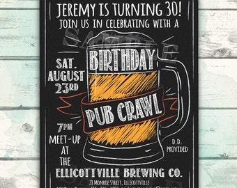 Pub Crawl Birthday Invitation, Printable Pub Crawl Beer Mug Birthday Invitation, Customize this Printable Man's Birthday Invitation