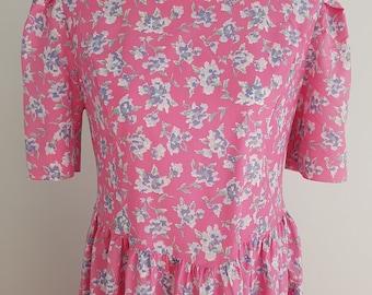 Pink floral vintage Laura Ashley midi dress