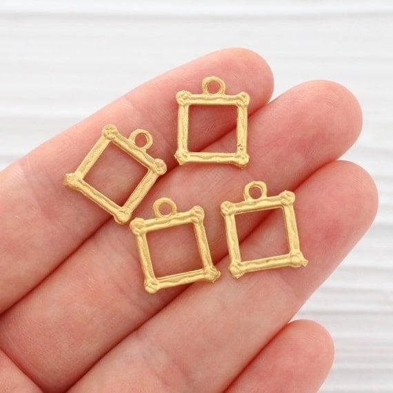 Square Charm Bracelet: 3pc Square Gold Charms, Dangle Charms, Bracelet Charms