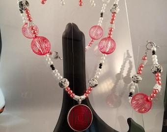 Red Pendant Necklace, Bracelet, Earrings