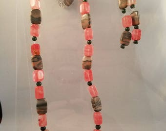 What a Gem of a set! Cherry Quartz and Canyon Marble Necklace, Earrings and Bracelet