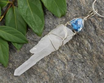8cm Faceted BLUE TOPAZ & QUARTZ Pendant - Argentium Silver Wire Wrapped Quartz Crystal and Blue Topaz Pendant - Handmade Jewelry J876