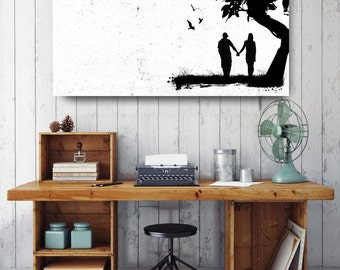 Couple Holding Hands Silhouette, Black and White Print, Silhouette Wall Art, Canvas Wall Decor, Black & White Canvas Art, Printed on Canvas