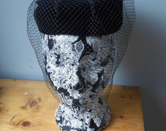 1950s pill box hat with net veil