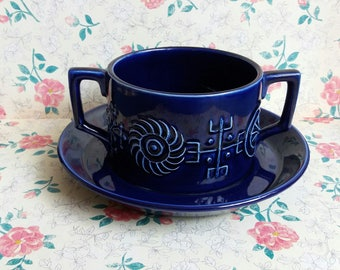 Vintage 1960s Portmeirion Susan Williams-Ellis Totem Cobalt Blue Soup Bowl and Stand