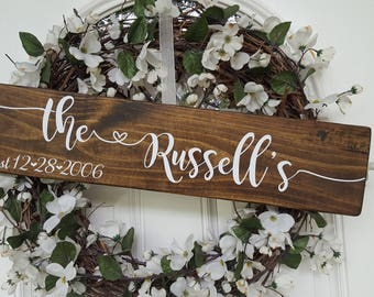 Custom Last Name Wedding Anniversary Date Sign