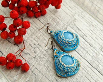 Statement earrings Unusual blue earrings Dangle earrings with glass cabochon Filigree earrings Unusual handmade jewelry