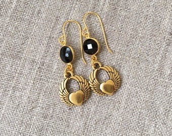 Gold Wing Hearts and Onyx earrings / Antique gold plated Winged Heart earrings with black Onyx gemstones