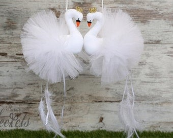 Swans, White Swans, Handmade Swans, Baby Room, Baby Girl, Baby Decor, Nursery Decor, Swans Mobile, Baby Party, Baby Shower,Baby Gift, Set 2