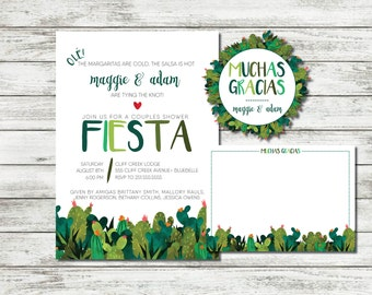 Printable Watercolor Fiesta Couples Wedding Shower Invitation Suite Mexican Themed