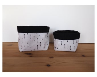 Baskets storage in white cotton print arrows and black uni / glove / baskets