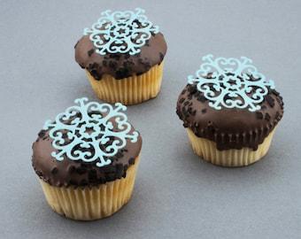 Snowflake frozen cupcake cake toppers edible cake decoration