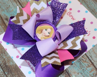 Princess Rapunzel Bow, Tangled Hair Bow, Rapunzel Birthday, Girl's Birthday, Bow Boutique Bow, Purple and Gold
