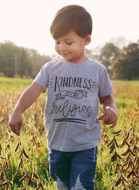 Kindness Is My Religion Kids Tshirt - Positive Message Shirt - Kids Unisex Tee - Kindness T Shirt - Kids Graphic Tee - Kids' Unisex Clothing