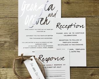 Elegant modern wedding invitation- silver foil wedding invitation, handwritten style font, modern wedding