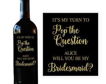 Will You Be My Bridesmaid Wine Bottle Label, Bridesmaid Wine Label, Wedding Party Favor, Wedding Party Gift, Bridesmaid Gift BM023